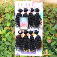 natürliche afro haar curl weben großhandel-Human Kinky Curly Crochet Hair Extensions 8 Teile / los Afro Jerry Curl Hair 1 Paket Voller Kopf verwicklung frei Weben Natürliche Welle Nähen in haar schuss