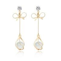 koreanischen steinschmuck großhandel-Top Fashion Korean Bowknot Lange Ohrringe für Frauen Mit Naturstein Hochzeitstage Schmuck Elegante Ohrringe