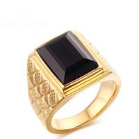 ágata piedra hombres anillo de oro al por mayor-Sencillo y clásico de hombre Anillos de acero inoxidable chapado en oro de 18K con anillos de piedra negro Onxy Agate Lujo para hombres Joyas