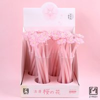 каваи розовая ручка оптовых-1PC Kawaii Romantic Pink Silicone Sakura Gel Pen School Office Supply Rollerball Pen Writing Stationery