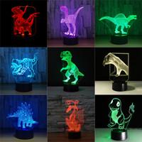 lámparas de mesa de luz táctil al por mayor-Jurassic Dinosaur 3D LED Luces nocturnas 7 colores Interruptor táctil remoto Lámpara de mesa de escritorio Luz de dormir para niños Regalo para niños