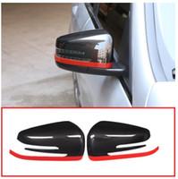 боковые зеркала оптовых-2x Углеродное волокно Красный Стиль Для Mercedes Benz CLA GLA GLK Класс W176 W117 X156 X204 ABS Боковая дверь Зеркало заднего вида Крышка Крышка Отделка