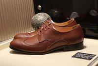zapatos de encaje americano al por mayor-Lujo europeo y americano para hombre Caballero Oxfords Drive New Lace Up Casual Real Leather Wedding Shoes Tamaño 38-45