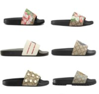 Wholesale leather men sandal resale online - Designer Men Women Sandals with Correct Flower Box Dust Bag Shoes snake print Slide Summer Wide Flat Sandals Slipper