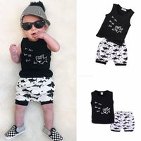 Wholesale t shirts for toddlers boys resale online - Kids Cartoon Shark Print Clothing T shirt Set Summer Baby Clothes For Boys Outfits Toddler Vest Shorts Children Suits AAA2045