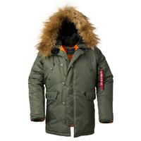ingrosso giacca di trincea dell'esercito-2019 Cappotto invernale lungo da uomo Cappuccio in pelliccia Caldo trench mimetico Tattico bomber Army coreano Parka invernale Puffer Jacket