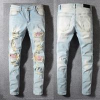 ingrosso pantaloni colorati uomini scarni-Pantaloni distrutti Distressed Italia Stile DSQPLEIND2 degli uomini di stampa a colori a coste Patch Skinny blu jeans slim pantaloni di formato 28-40