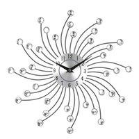 cristales de arte de pared de metal al por mayor-Cristal silencioso Reloj de pared de metal Home Art Decor Diámetro 32cm