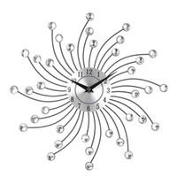 ingrosso cristalli di arte della parete metallica-Orologio da parete in metallo cristallo silenzioso Home Art Decor Diametro 32cm