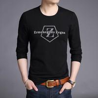 moda callejera coreana para hombres al por mayor-2019 Algodón mercerizado Nueva marca de moda Camisetas Hombres Ropa Tendencias de impresión Tops Street Style Camisetas de manga larga coreanas para hombres