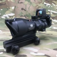 Wholesale fiber optic red dot resale online - Trijicon ACOG X32 Black Tactical Real Fiber Optic Green Illuminated Collimator Red Dot Sight Hunting Riflescope