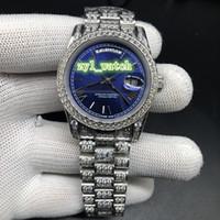 mavi elmas kılıf toptan satış-Erkek Buz Elmas Kol Saati Mavi Yüz İzle Gümüş Diamond Case Kayış İzle Otomatik Mekanik Moda Saatler