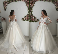 Wholesale maternity court wedding dress for sale - Romantic Summer Sheer Long Sleeve Wedding Dresses Zipper Buttons Back A Line Scoop Neck Long Bridal Gowns Cheap Maternity Dress