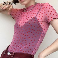 Wholesale cute hot pink shirts resale online - Hot Sale Cute Pink Heart Mesh T shirt Women Summer Sexy Transparent Short Sleeve Cropped Top Harajuku O Neck Fitness Tees T200521