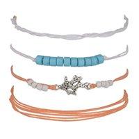 korallen armbänder frauen großhandel-4 Stücke / Beliebte legierung korallen handgewebte mehrschichtige armband weibliche perlen schmuck frauen schmuck