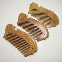 стиль здоровья оптовых-Натуральный зеленый сандалового дерева гребень антистатические щетки для волос здоровье и изысканный ручной резьбой деревянные рыбы гребень для укладки волос инструменты