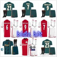 camisetas crianças de futebol de qualidade tailandesa venda por atacado-Qualidade tailandesa 2019 2020 Ajax FC longe de casa kit de futebol crianças 19 20 afastado KLAASSEN FISCHEA BAZOER MILIK AJAX crianças camisa de futebol