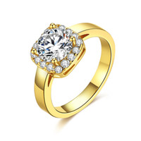 Wholesale geometric rings for sale - 18k Yellow Gold Retro Micro Inlaid White Zircon Luxury Square Diamond Close Rings For Women Trendy Fine Jewelry Geometric Type Y19051602