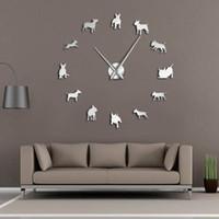grande horloge d'art achat en gros de-Bull Terrier chien Wall Art bricolage grande horloge murale Race de chien Carlin grosse aiguille horloge montre Pet Shop Decor cadeau pour les amateurs de Bull Terrier