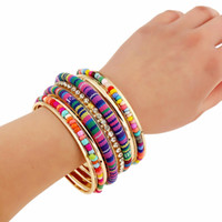 Wholesale color beads bracelet resale online - 2019New Bohemian Ethnic Multi Layer Suit Bracelet Personality Mixed Color Beads Leaf Shell Fringed Bracelet Fashion Hand Jewelry