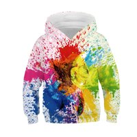 teen jungen kleidung großhandel-Kleinkind Sweatshirt Teen Kinder Mädchen Jungen Paint Print Sweatshirt Tasche Pullover Kid Kleidung Winter Herbst Lässige Warme Hoodie Tops