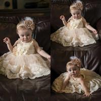 robes de baptême simples achat en gros de-Champagne Robes De Baptême Pour Bébé Fille Infant Toddler Robe De Baptême À Paillettes Tulle Dentelle Appliqued Kid Première Robe De Communication