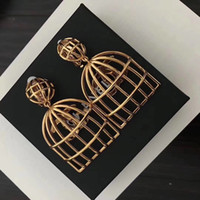 Wholesale unique stud earring design for sale - Group buy new women female ladies Personality stamped birdcage gold earrings Unique design drop earring clips with box