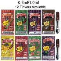 freies verschiffen baumwollacryl großhandel-Exotische DABWOODS Vape Cartridges Verpackung 0,8 ml 1 ml TH205 Keramik Leer Vape Pen Carts Holz Holz Tip 510 Gewinde Thick-Öl-Wachs Vaporizer