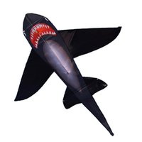ingrosso coda di aquilone-Forte aquilone Black Shark con coda colorata lunga! Grandi aquiloni di squalo principianti per bambini e adulti sono dotati di corda e manico