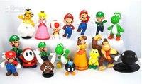 goomba puppe großhandel-18pcs stellten Super Mario Bros Actionfiguren Spielwaren gesetzte Yoshi Dinosaurier Pfirsich Kröte Goomba PVC Puppe Mario Luigi PVC Spielwarengeschenke ein freies Verschiffen