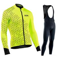 ingrosso bike triathlon-Piacevolmente 2019 Winter Fleece Thermal Cycling uomo manica lunga ciclismo Jersey Mountain Road uniforme Abbigliamento pro Triathlon Bike Outdoors