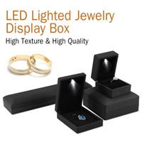 işıklı ekran kutuları led toptan satış-LED Işıklı Takı Saklama Kutusu Küpe Yüzük Kolye Bilezik Hediye Kutusu LED Işıklı Mücevher Kutusu Durumda Ekran CNY987
