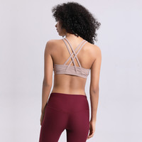 bh shirts großhandel-LU-49 Frauen Crossing Yoga Sport-Büstenhalter Gymnastikweste Push Up Fitness Tops Sexy Unterwäsche Dame Tops Rüttelfest Einstellbar Strap Bh
