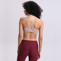 kadın gömlekleri haçlar toptan satış-LU-49 Kadınlar Geçiş Yoga Spor Sutyeni Gömlek Spor Yelek Push Up Spor Tops Seksi Iç Çamaşırı Bayan Shakeproof Ayarlanabilir Kayış Sutyen Tops