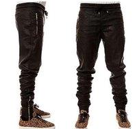 pantalon de jogging en faux cuir pour homme achat en gros de-Rafraîchissez Man New Kanye West Hip Hop Big Snd tirettes Mode Grand Jogers Pantalon Joggers danse Vêtements Urban Hommes Faux Pants68 en cuir
