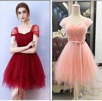 vestidos cortos de dama de honor de vino tinto al por mayor-promoción de vestidos de dama de vino rosado rojo azul vestido de dama de la luz corta memoria dulce
