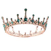coronas redondas para novias al por mayor-Mujeres Estilo Americano Europeo Tiara Crown Novia Boda Moda Accesorios para el Cabello Niñas Full Round Queen Party Headpieces