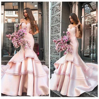 Wholesale plus size formal trumpet resale online - Off Shoulder Mermaid Slim Prom Dresses Tiered Short Sleeves Formal Women Evening Party Gowns Vestidos De Special Occasion Party Gowns