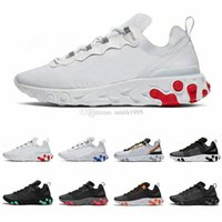 Wholesale red fashion shoes for men resale online - React Element Running Shoes for Men Women Top Quality Triple Black White Solar RED Metallic Gold Fashion Mens Trainers Sports Sneakers