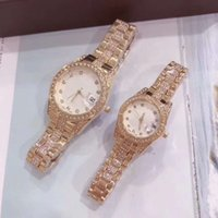 Wholesale best luxury couple watches for sale - Group buy luxury mens women lover designer watches iced out watch diamond quartz couple Wristwatches orologio di lusso best gift