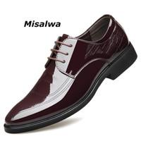 sapatos baixos claras para casamento venda por atacado-Misalwa Limpar Homens Sapatos De Vestido De Couro Estilo Italiano Homens Apontou Toe Terno Formal Sapatos Cavalheiro Derby Escritório Casamento Apartamentos