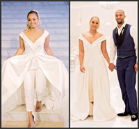eleganter weißer v-ausschnitt großhandel-Elegante 2019 neue Frauen Jumpsuit Brautkleider White Satin Bridal Pantskirts Kleider mit Zug großen V-Ausschnitt Reißverschluss zurück formale Celebrity Dress