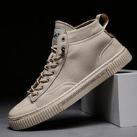 Wholesale streetwear shoes resale online - Streetwear Shoes Men High Top Sneakers Zapatillas Hombre Solid New Mens Shoes Casual Leather Lace up