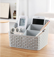 Wholesale remote control care resale online - Rattan Cosmetics Storage Box Makeup Skin Care Products Organizer Remote Control Desktop Container Multi functional Sundries Storage Case