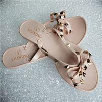 Wholesale girls sandals big heel resale online - 2019 Brand New Women Summer Sandals Rivets Big Bowknot Flip Flops Beach Sandalias Femininas Flat Jelly Woman g Non slip girl Sandals