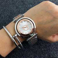 Wholesale circles clock resale online - gogowa Diamonds scale Clock dial circle whirl Clock dial Concise style Latest fashion Quartz Female Wrist watch