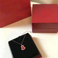cabaça de ouro venda por atacado-Designer de colar de ágata vermelho cabaça colar 18 K banhado a ouro colar de luxo mulher amor presente frete grátis