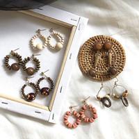 Wholesale classical earrings resale online - 2019 New Autumn Winter Wooden Dangle Earring Geometric Retro Style Classical Nostalgic Winter Earrings For Women Girls