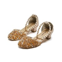 butik kız ayakkabıları toptan satış-INS inci kızlar ayakkabı payet çocuk ayakkabı prenses yüksek topuklu ayakkabılar moda çocuk ayakkabı düğün ayakkabı Butik kız sandalet perakende A9665