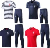 fransız giyim toptan satış-2 yıldız fransız kısa eşofman futbol forması 18 19 Eğitim takım elbise futbol kısa slevees giymek 3/4 pantolon GRIEZMANN POGBA MBAPPE futbol gömlek uni